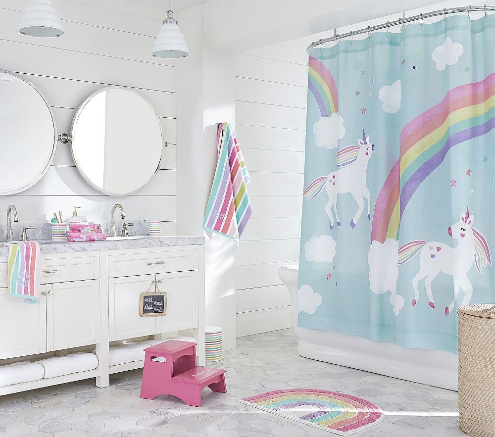 Photo of Unicorn Collection: Multi Stripe Towel, Curtain, Mat