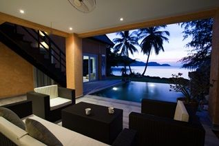 How about that for a living room with a view. Sunset from one of our Koh Chang villas