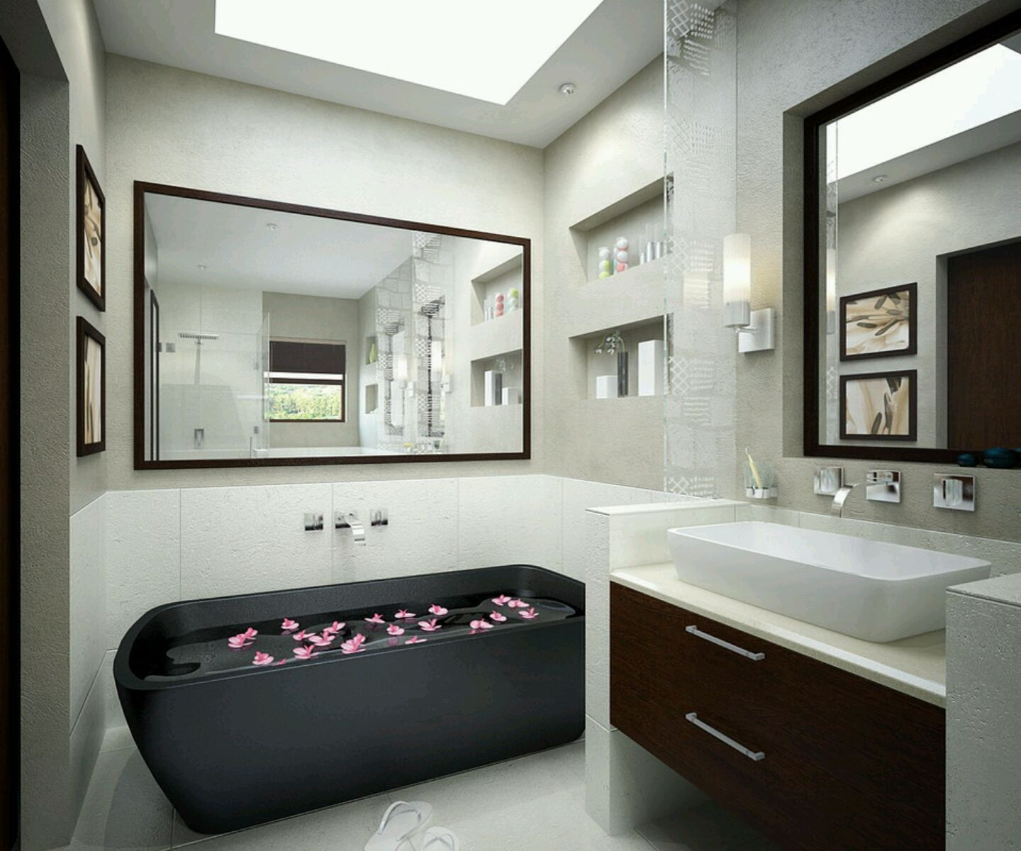 Beautiful Black Bathtub Also Large Wall Mirror Design And Modern Hanging Bathroom Cabinet