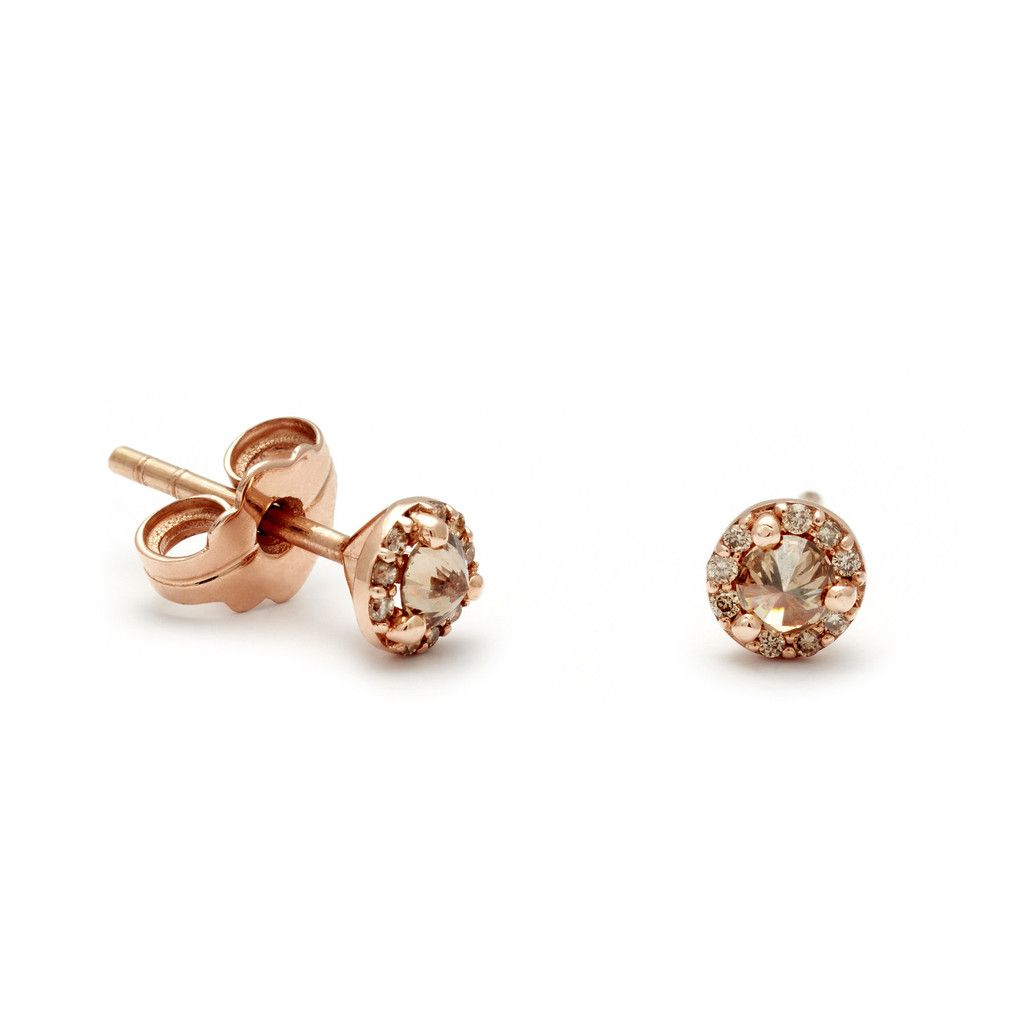 f3b09d931126a6 Rosette Stud Earrings (Tiny) - Champagne Diamonds in Rose Gold – Anna  Sheffield Jewelry $1275