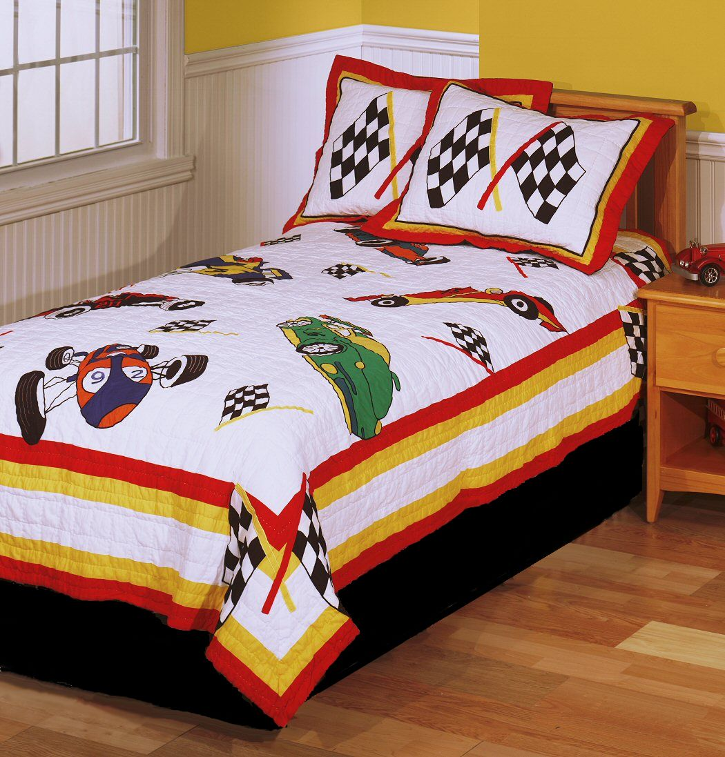 Baby quilts bed covers - Race Cars Boys Bedding Twin Quilt Set Checkered Racing Flags Cotton Bedspread Black White Red