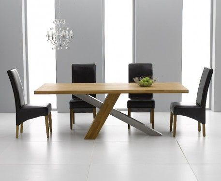 Buy The Chateau 195Cm Solid Oak And Metal Dining Table With Cannes Best Metal Dining Room Furniture Design Ideas