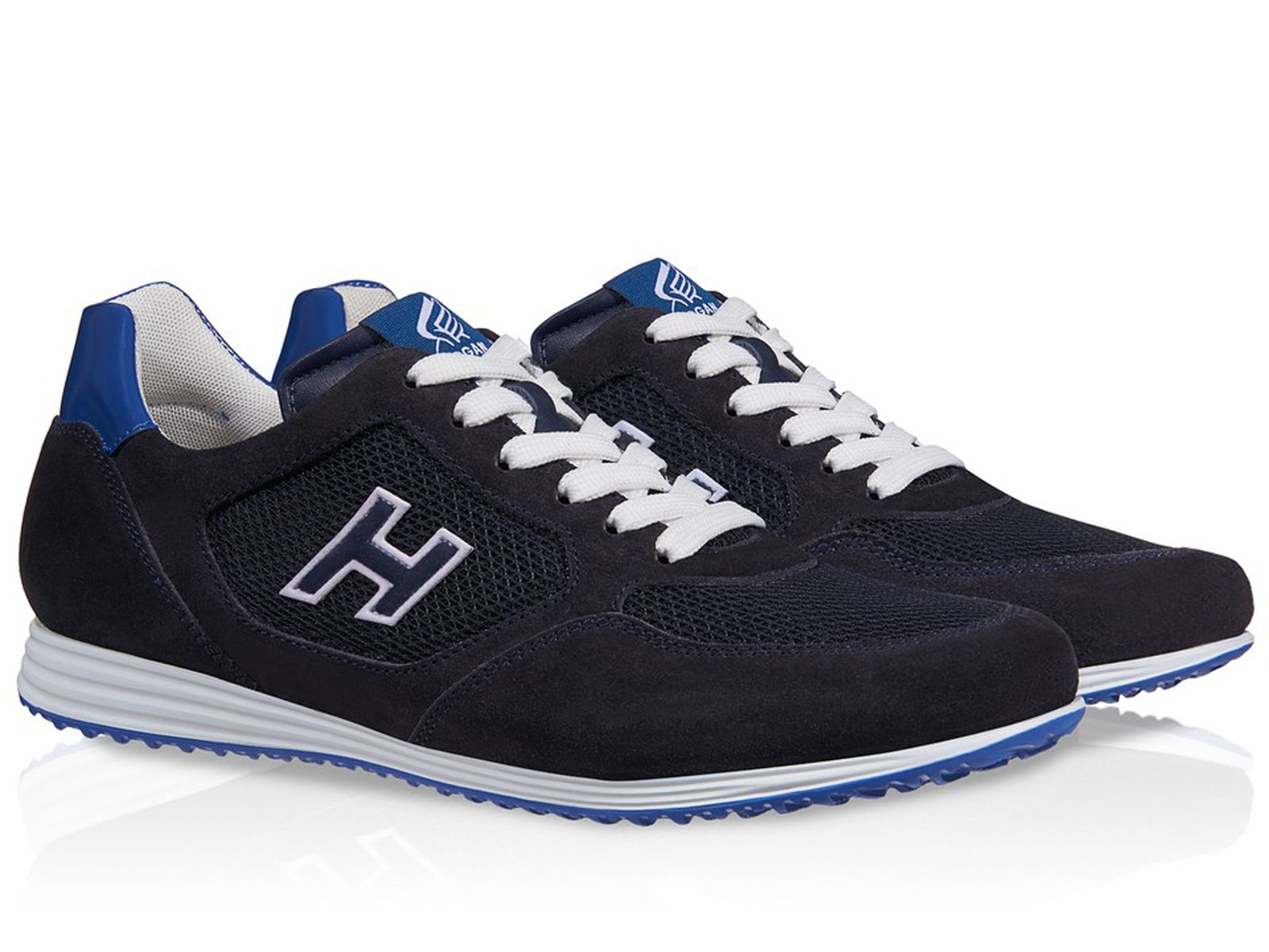 Hogan Olympia X H205 sneakers in blue suede with fabric - Italian Boutique  €193 3d5baab4534