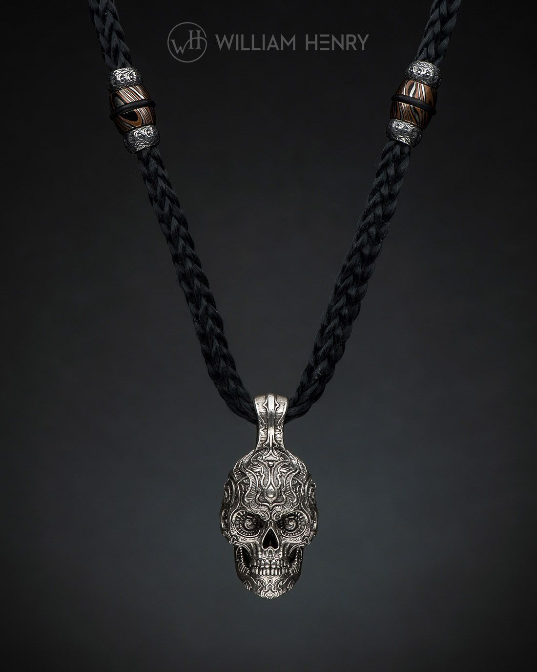 Badass silver skull pendant on kevlar cord with insets in badass silver skull pendant on kevlar cord with insets in sterling silver and mokume gane mozeypictures Image collections
