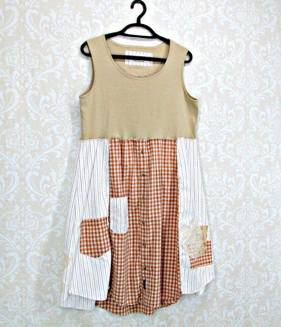 Medium Large-Tank Dress-Bohemian Patchwork-Upcycled