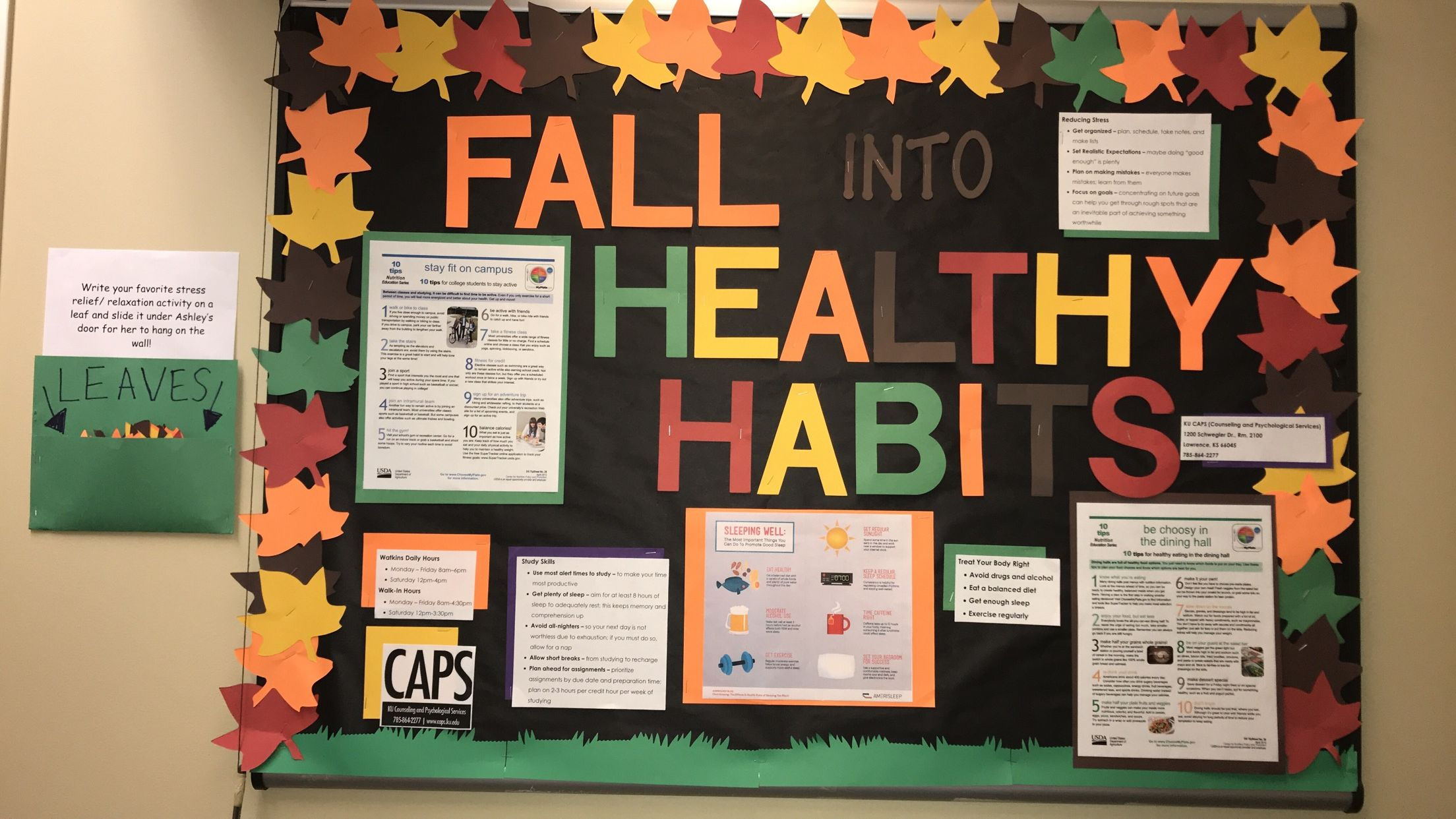 Fall RA Bulletin Board - Healthy Habits #rabulletinboards