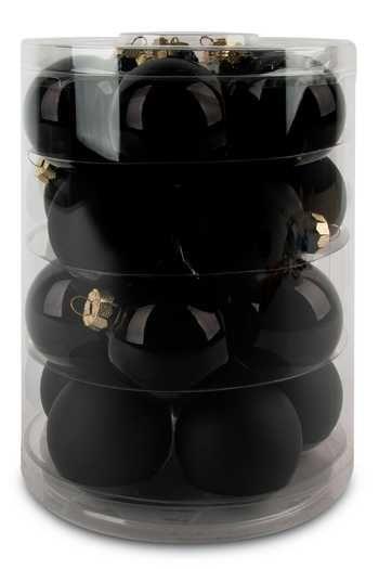 20 Christbaumkugeln 6 cm - Schwarz Matt/Opal #weihnachtsdekoimglasmitkugeln