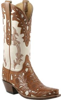 Lucchese Classics - L4682 - Mahogany Cheyenne Filigree Hand-Tooled Design with Bone Goat