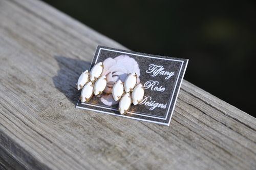 Rose Emblem Earrings in White by Tiffany Rose Designs