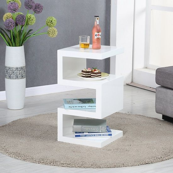 Trio Modern Side Table In White High Gloss