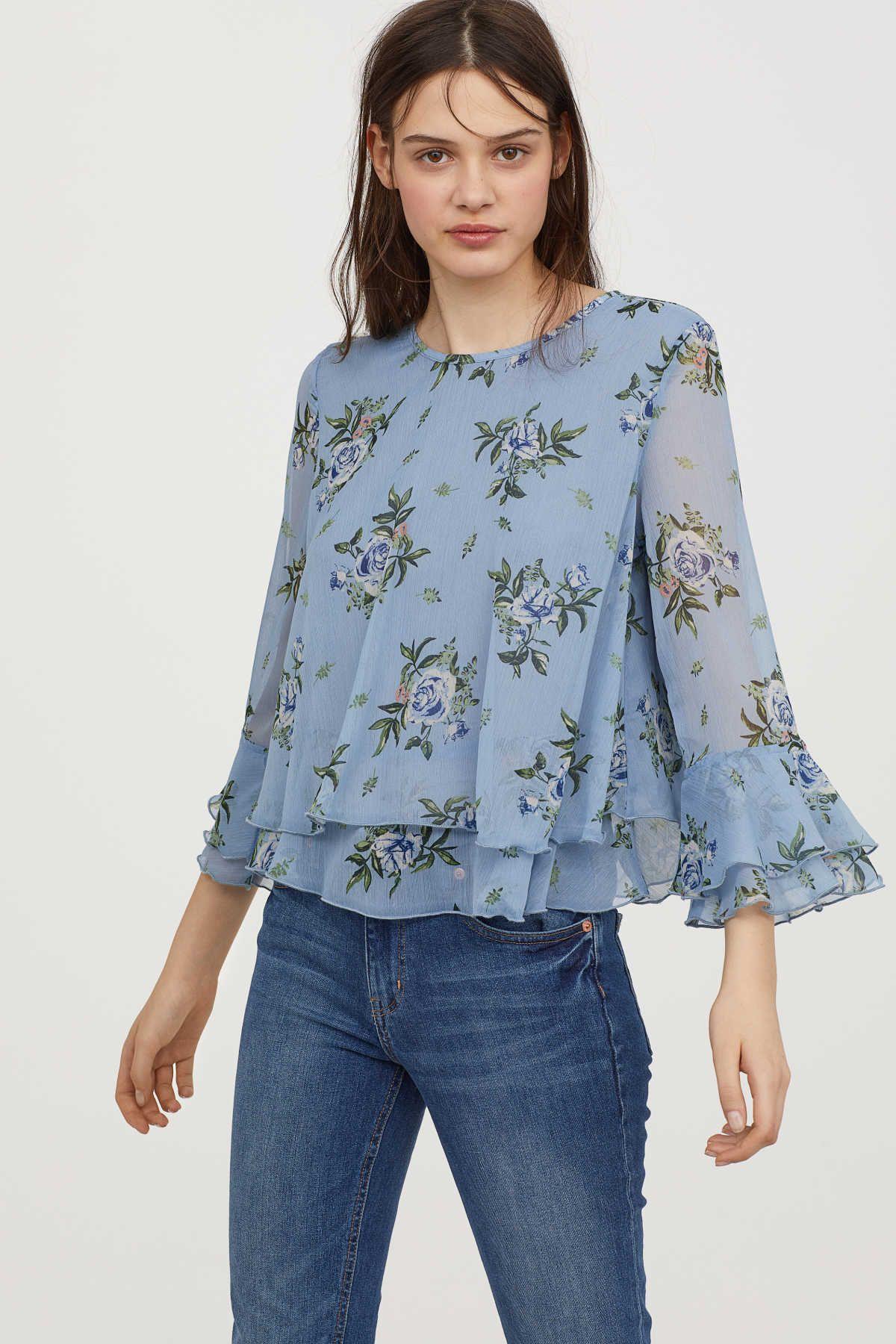 Scarpe antiscivolo Fertile nemico  Chiffon Blouse with Flounces | Pigeon blue/floral | WOMEN | H&M US | Ladies  tops fashion, Chiffon blouse, Floral blouse outfit spring
