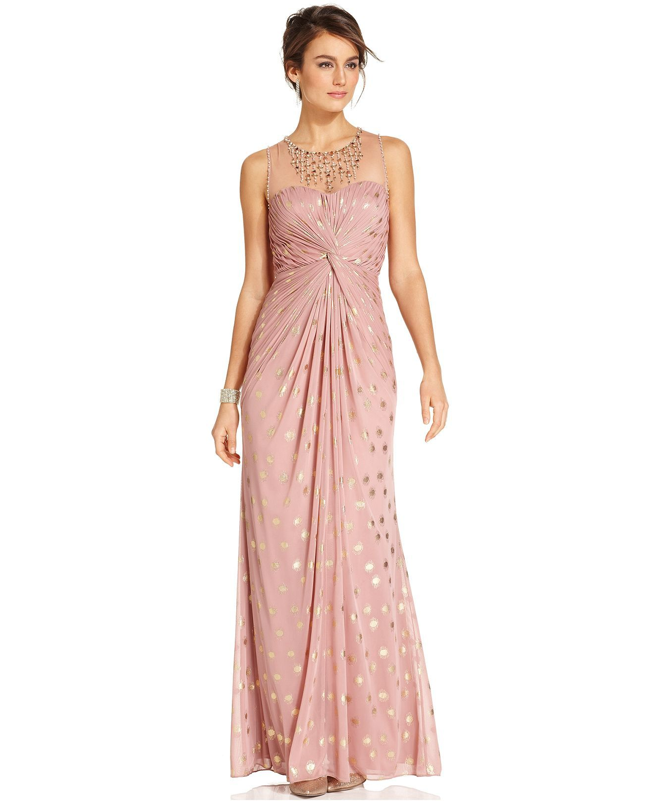 Adrianna Papell Dress, Sleeveless Pleated Beaded Metallic-Dot Gown ...