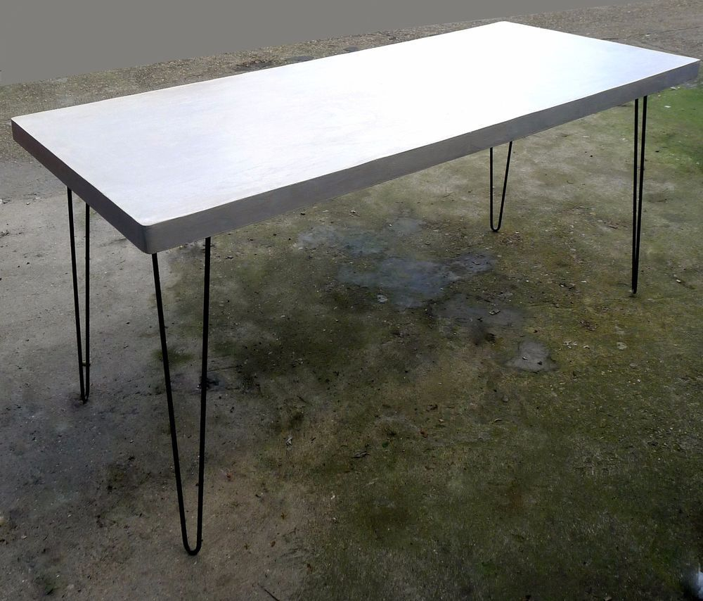 Polished Concrete Kitchen Dining Table Steel Hairpin