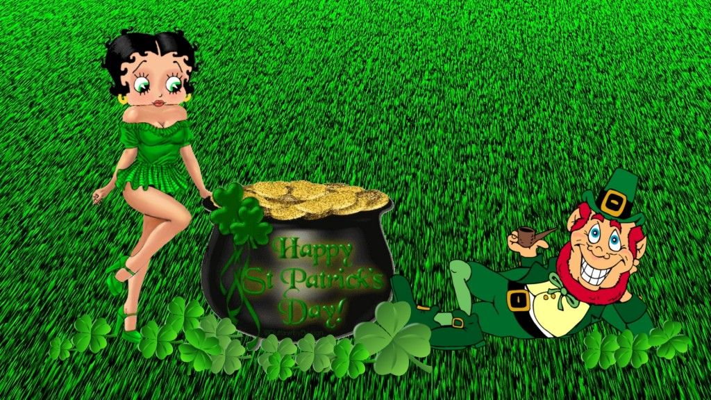 Leprechaun And Betty Boop Desktop Wallpaper