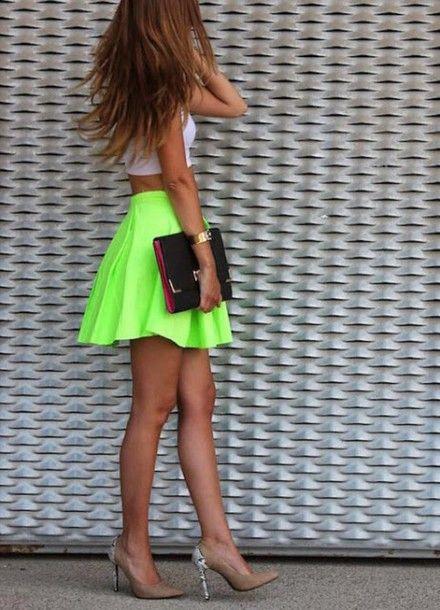 ... yellow bag high heels shoes tennis skirt skater skirt green skirt  yellow skirt crop tops summer girly neon neon green white crop tops watch clutch  top edac5a5f7ff28