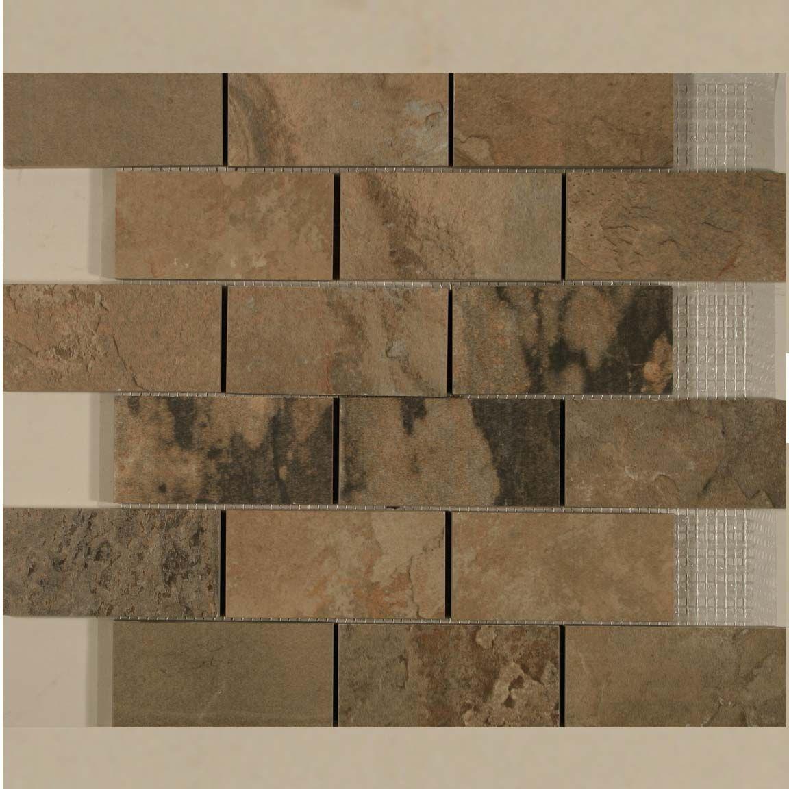 Autumn Brick Slate Mosaic White Kitchen