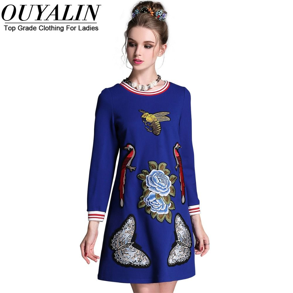 L xl fall embroidery short dress long sleeve striped o neck high