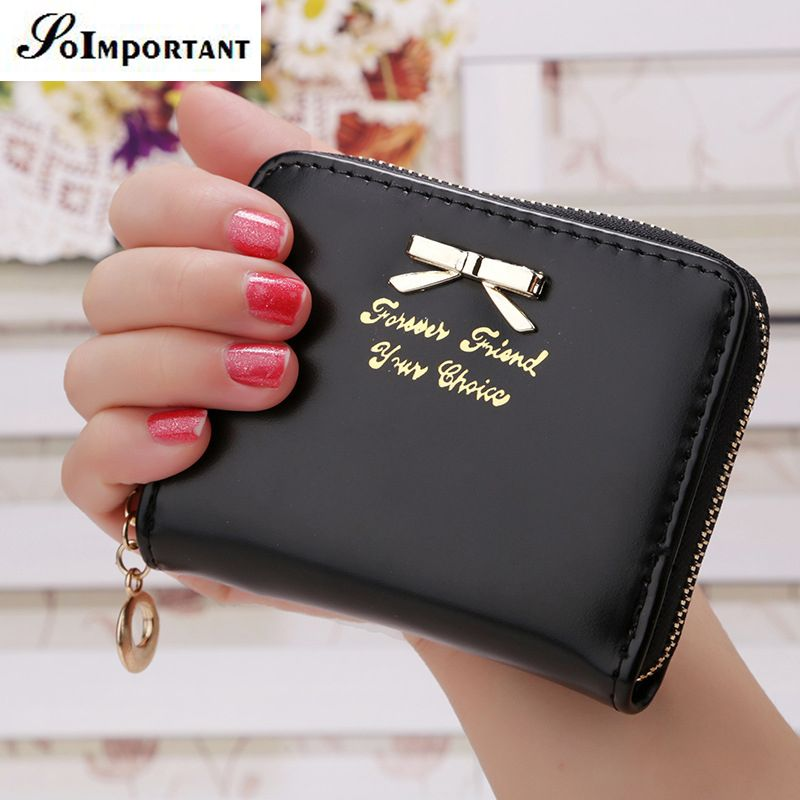 New Korean Cute Bowknot PU Leather Zipper Slim Mini Wallet Women ...