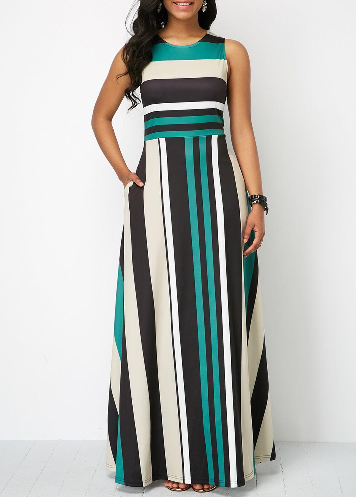 117259265b Stripe Print Pocket Zipper Back Sleeveless Maxi Dress | Rosewe.com - USD  $32.54