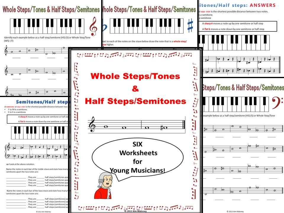 music worksheets whole steps tones and half steps semitones worksheets music class and music. Black Bedroom Furniture Sets. Home Design Ideas