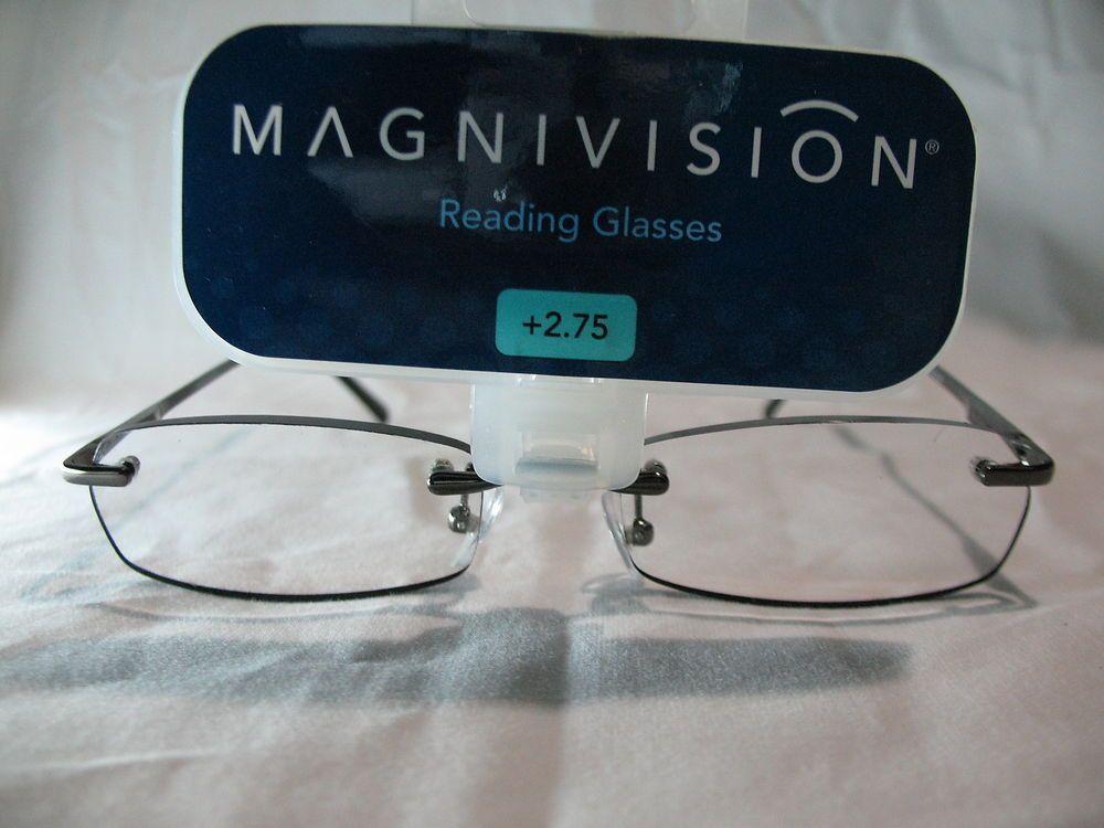 9e650777d20 Magnivision Kristin Black Womens Rimless Reading Glasses +1.75 2.25 2.75   Magnivision