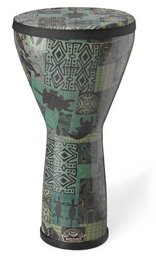 Remo Designer Series Festival Djembe, green kinte 10x20 by Remo. $109.00. Remo's Festival Djembes are available in the new Designer's Touch finishes with matching Skyndeep drumheads. The djembe is also equipped with a nylon shoulder strap. Drummers and percussionists can now look for the Remo ECO-Seal on our quality drumming products to ensure an environmentally-friendly, Acousticon drum shell, made in the USA. Remo's proprietary Acousticon is made from 100% recycled wood ...