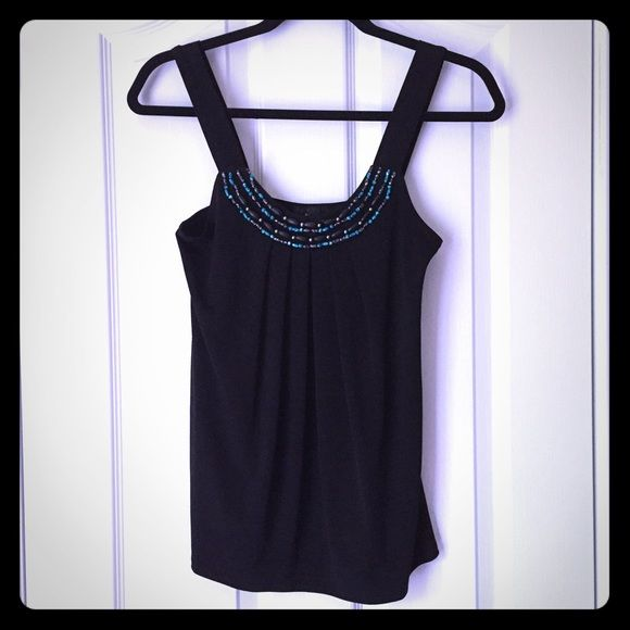 Beaded Neckline Black Top This top stands out with its beautiful beaded neckline.! The straps cover your bra as it has a square back. In perfect condition! 95% polyester/ 5% spandex B-Wear Tops Tank Tops