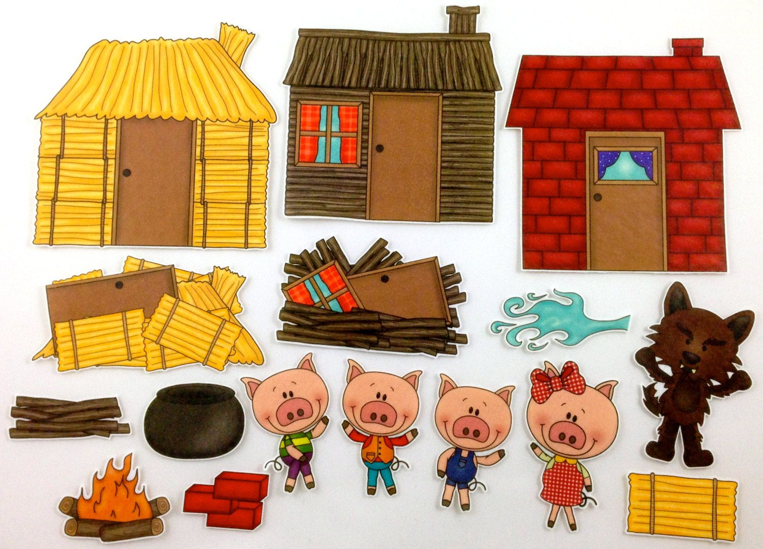 Three little pigs felt board story set by bymaree on etsy for The three little pigs puppet templates