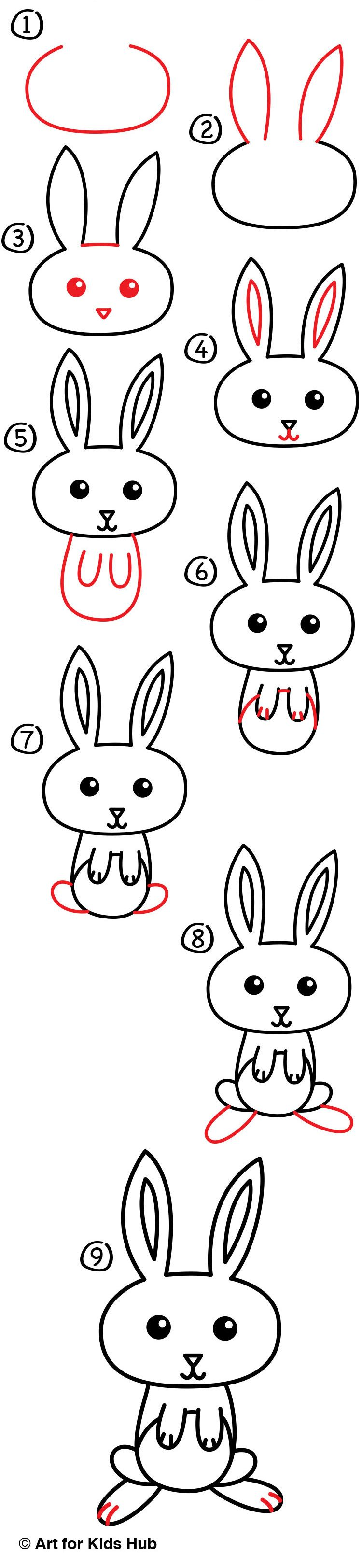 How To Draw A Cartoon Easter Bunny Art For Kids Hub Art For Kids Hub Bunny Art Bunny Drawing