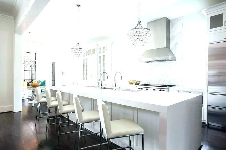 long narrow kitchen island waterfall with abbey bling chandeliers small seating ...,  #Abbey ... #longnarrowkitchen