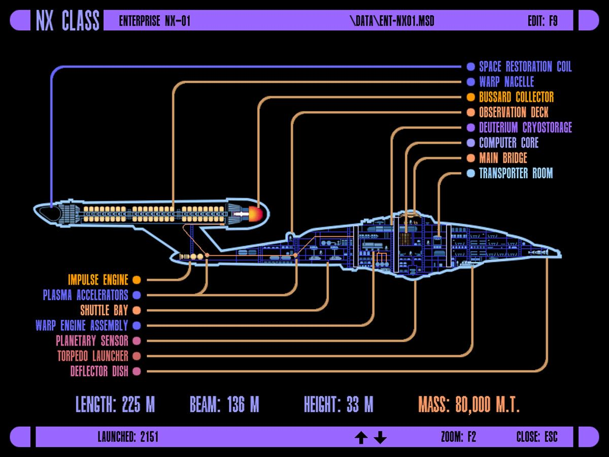 ICARS Schematic Of Columbia Class Starship; U.S.S. Enterprise NX 01