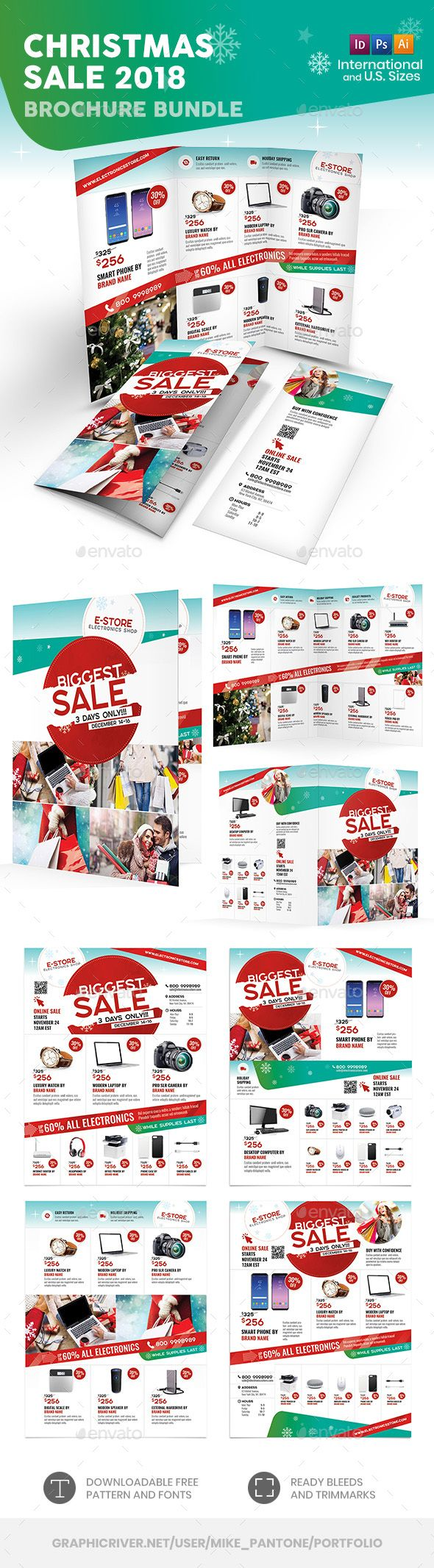 christmas sale brochure templates psd vector eps indesign indd ai