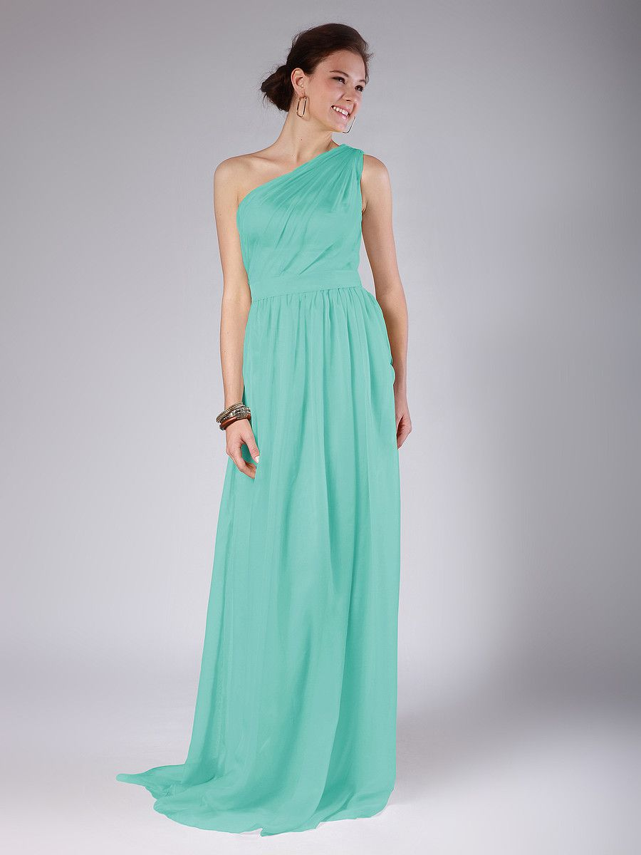 One shoulder column bridesmaid dress plus and petite sizes