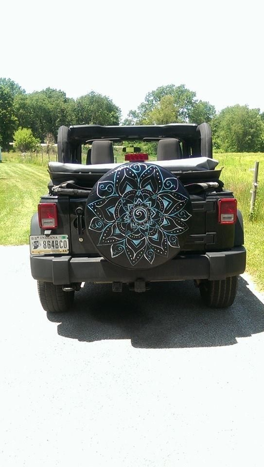 Hand Painted Mandala Tire Cover Cover Is Vinyl And Treated With A