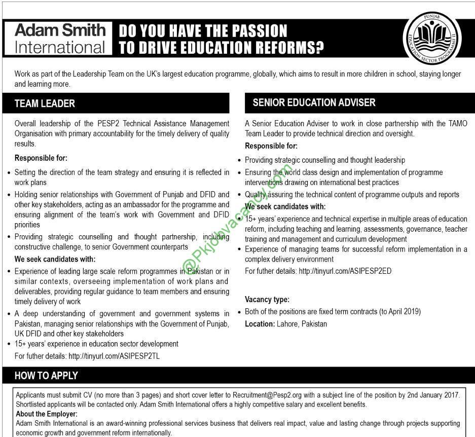 Jobs In Ngo Adam Smith International For Team Leader Senior