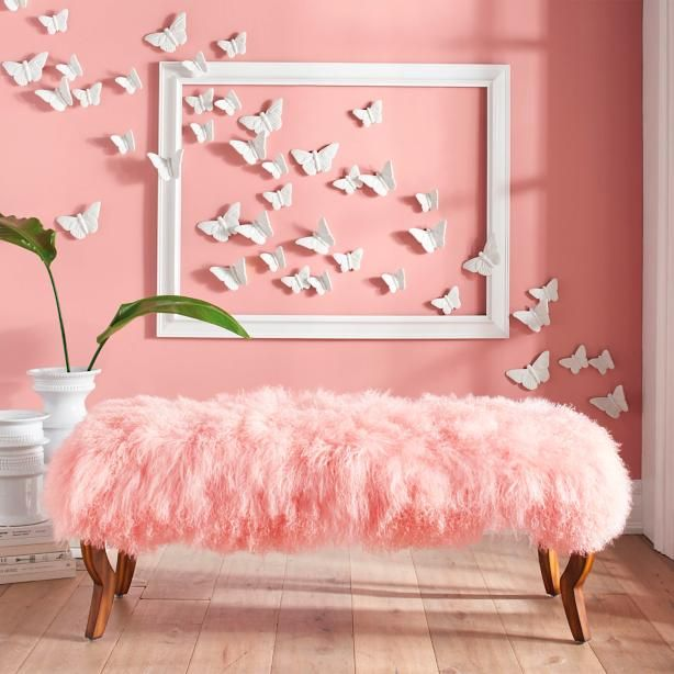 Scarlett Bench And Mongolian Sheep Fur Cover In 2019