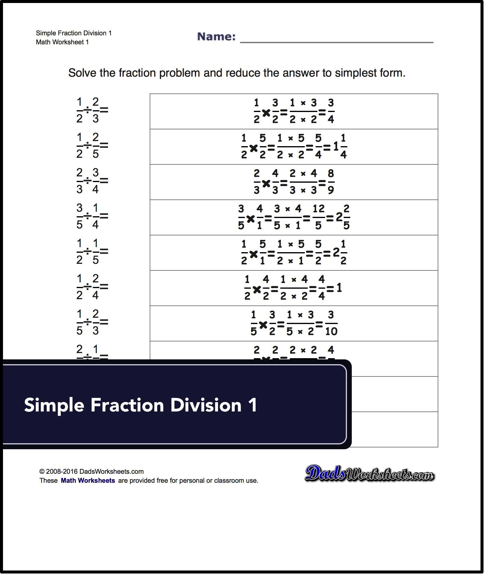 Free Math Worksheets For Fraction Division Problems