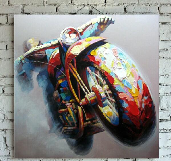 Handgemalte erstklassige motorrad malerei auf segeltuch for Wand kunst wohnzimmer