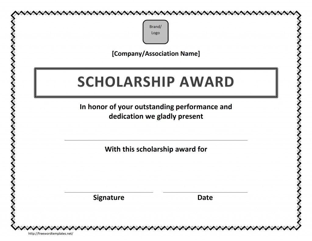Scholarship Award Certificate Template  Scholarship