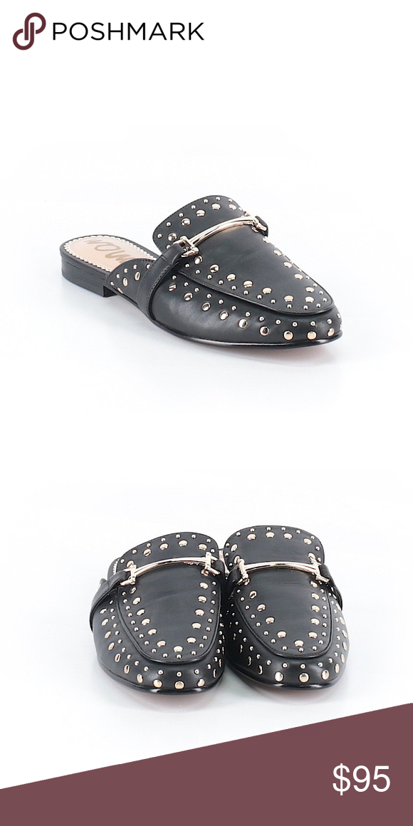 7f8d1db6451432 Sam Edelman Marilyn Studded Flat Slipper Mule Sz 8 Sam Edelman Marilyn black  leather loafer mules with gold studded detail. Size 8. Slip-on style.