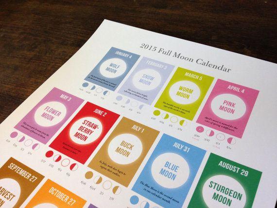 Full Moon Calendar 2015 by RanchandRodeo on Etsy