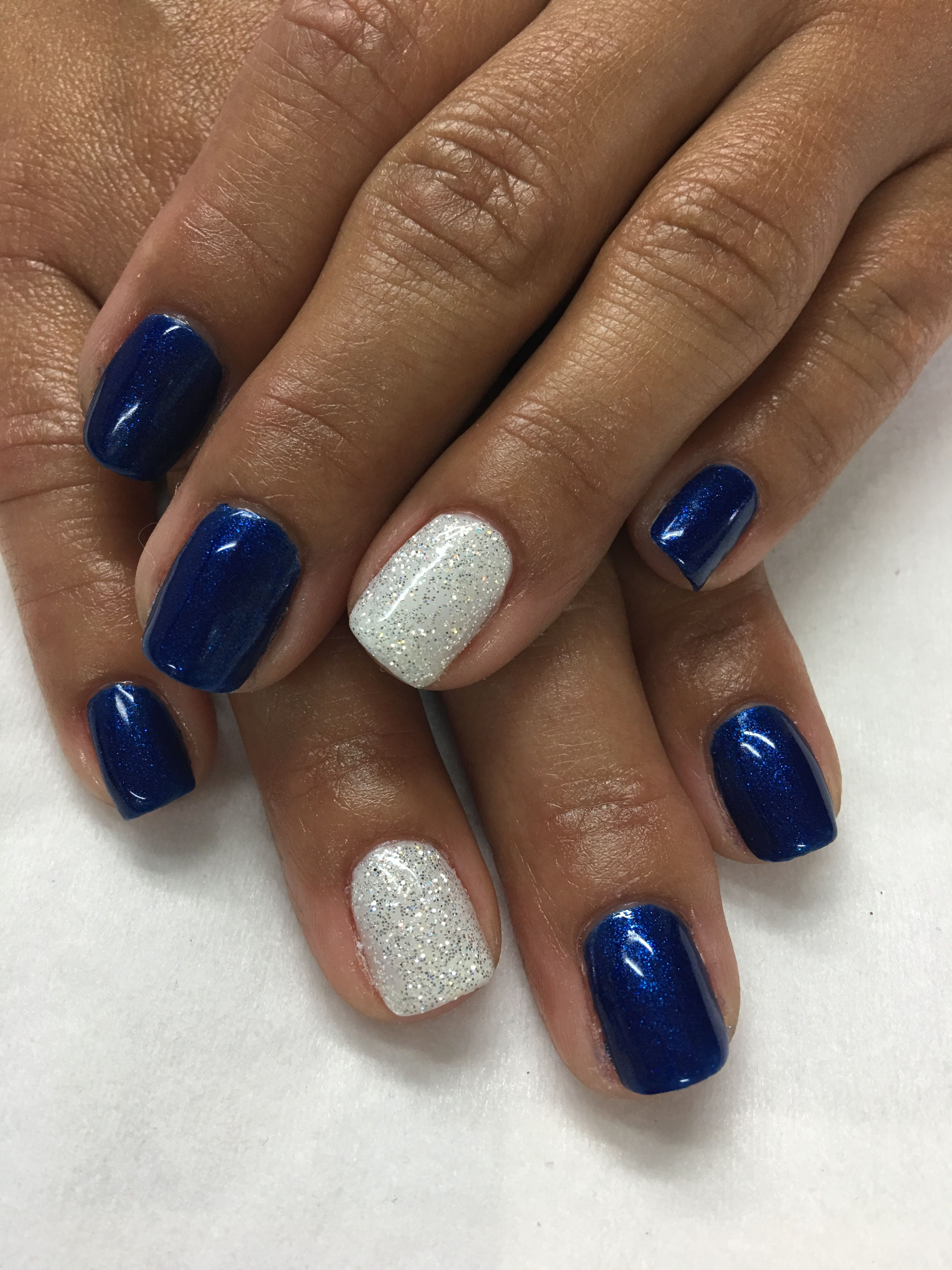 Royal Blue And White Glitter Gel Nails Blue And Silver Nails Glitter Gel Nails Gel Nails