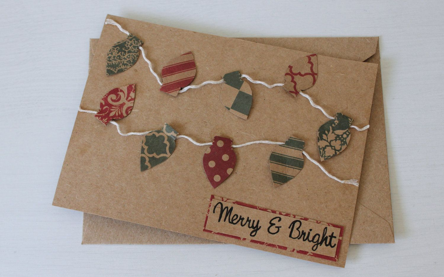 merry and bright  handmade christmas card  set of 5 13