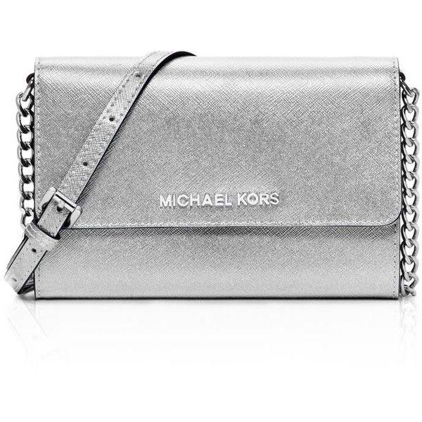 7ddbb6ceda05 Michael Michael Kors Jet Set Travel Metallic Crossbody found on Polyvore  featuring bags, handbags, shoulder bags, silver, crossbody handbags, ...