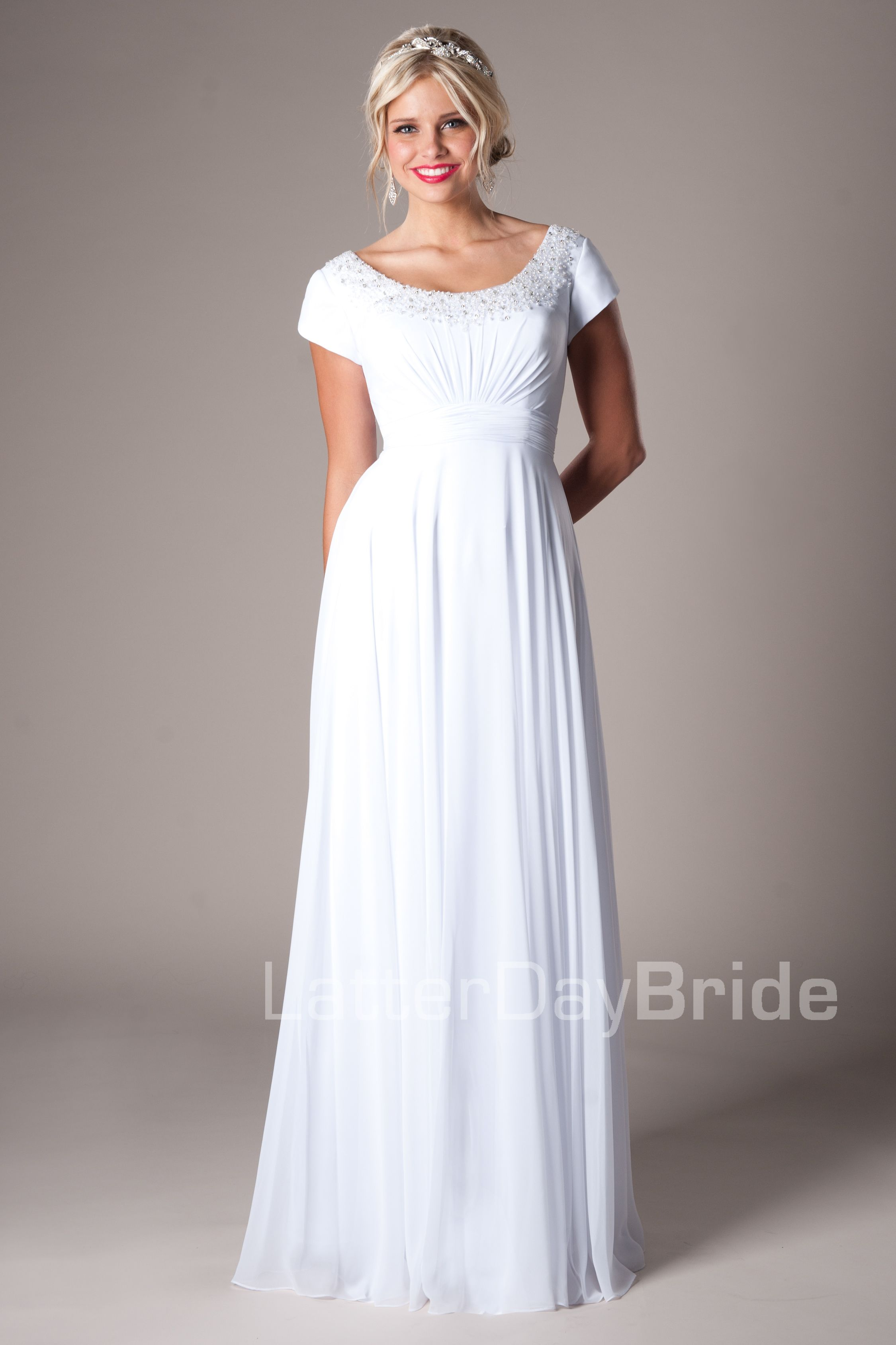 f860a91c628a Modest Wedding Dresses : Mormon LDS Temple Marriage - Alcott This is  another favorite for graduation dresses! :)
