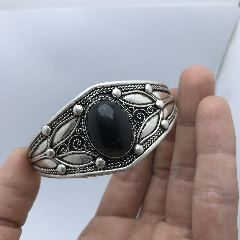 USA vendeur Noire Ovale Onyx Anneau Argent Sterling 925 BEST DEAL Bijoux Taille 5