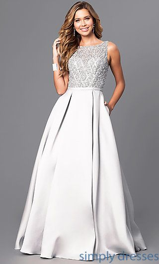 Shop long prom dresses with pockets at Simply Dresses. V-back long formal  evening dresses with beaded-illusion bodices and pleated satin skirts. b487d9b43220