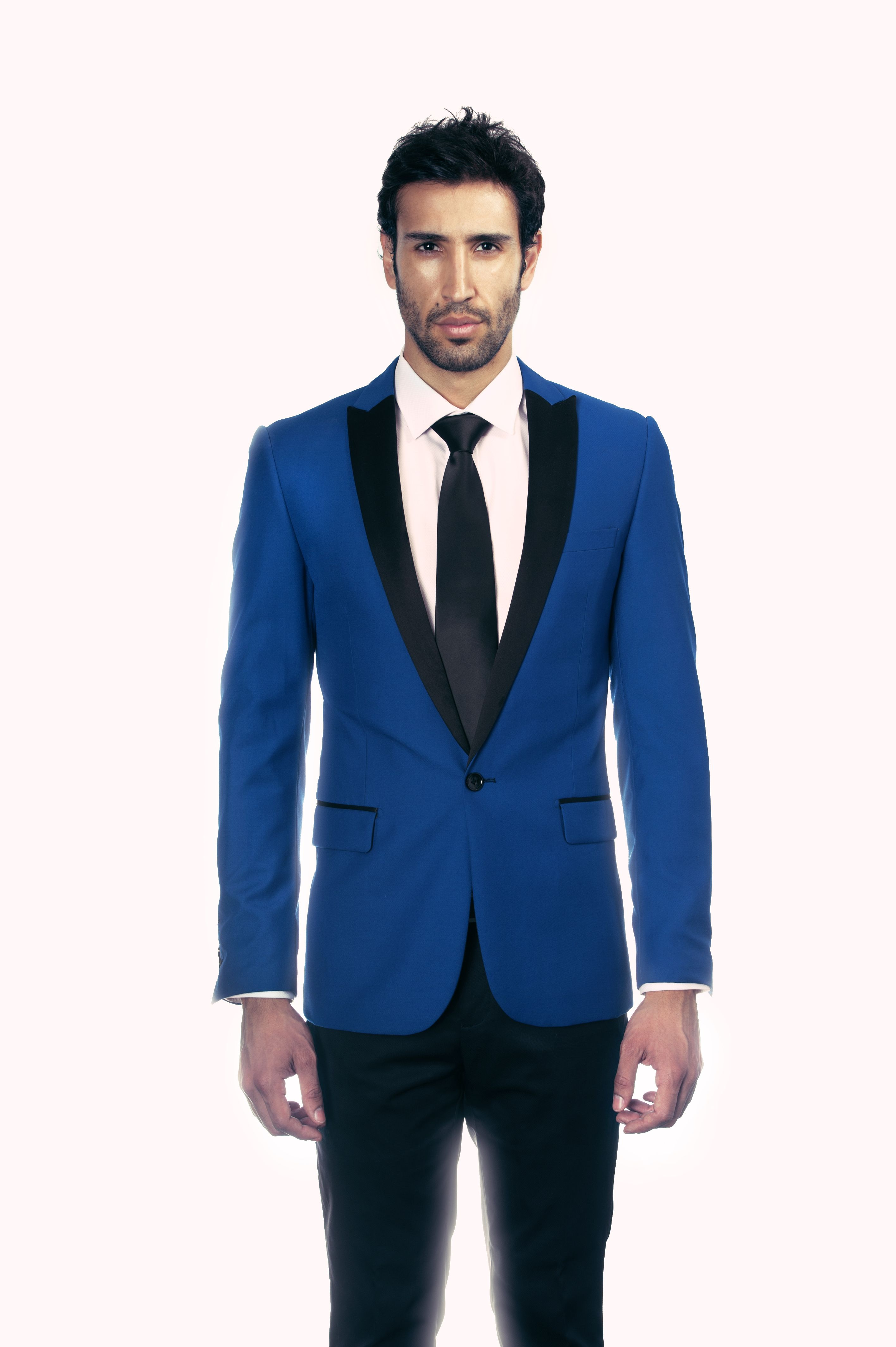 Model wears electric blue  HDHOMME blazer and black fitted bottoms. support  HD Homme by following on twitter and instagram  hdhomme  style  menswear ... 574be23776b