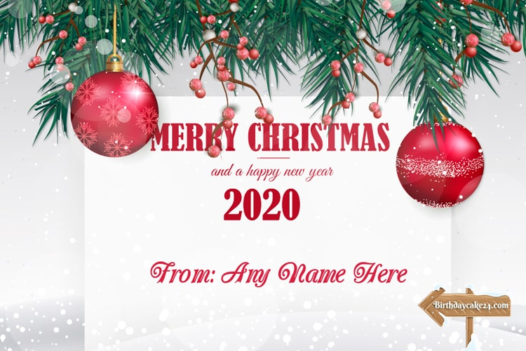 Merry Christmas Happy New Year 2020 Card With Name Edit Merry Christmas Card Greetings Merry Christmas Wishes Personalised Christmas Cards