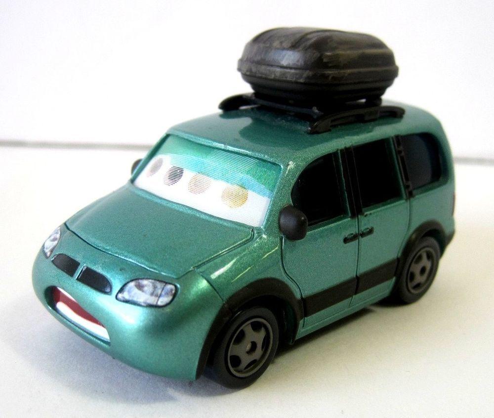 Disney Pixar Cars Mini Van 61 with Luggage 1/55 Die Cast Green